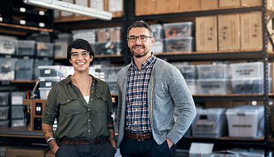 Buy stock photo Portrait of a confident man and woman working together in a workshop