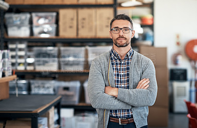 Buy stock photo Portrait of a confident man working in a workshop