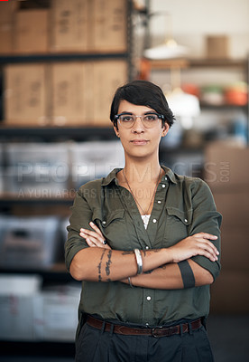 Buy stock photo Portrait of a confident woman working in a workshop