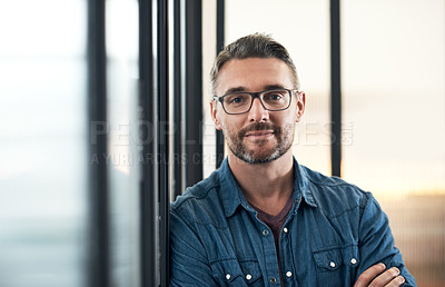 Buy stock photo Portrait of a mature designer standing in an office
