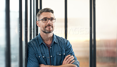 Buy stock photo Shot of a mature designer standing in an office