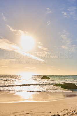 Buy stock photo Beautiful beach and rock - Camps Bay