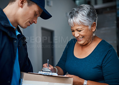 Buy stock photo Cropped shot of a handsome young man delivering a package to a customer