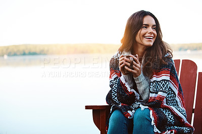 Buy stock photo Shot of an attractive young woman relaxing while on vacation