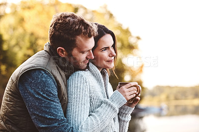 Buy stock photo Shot of an affectionate couple on a romantic vacation