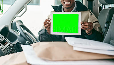Buy stock photo Portrait of a courier holding a digital tablet with a chroma key screen inside a delivery van