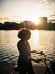 Riding my bicycle with sweet music and scenery