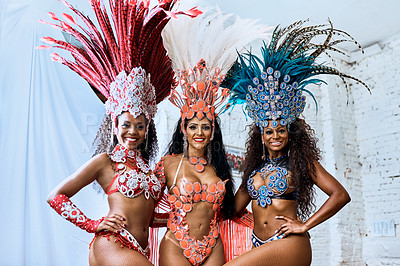 Buy stock photo Cropped shot of beautiful samba dancers getting ready for a performance during carnival