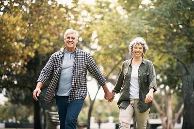 Buy stock photo Portrait of a happy senior couple going for a walk in the park