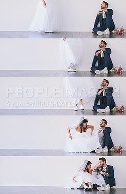 Buy stock photo Series of studio shots of a young bride sitting down next to the groom and receiving flowers from him