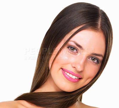 Buy stock photo Studio portrait of a beautiful young woman posing against a white background