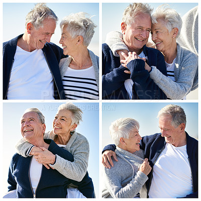 Buy stock photo Composite image of a happy senior couple spending a day at the beach