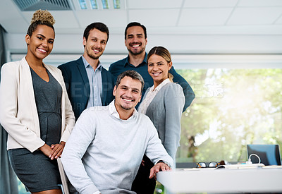 Buy stock photo Portrait of a group of businesspeople working in an office
