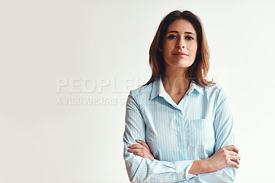 Buy stock photo Portrait of a confident businesswoman in a modern office