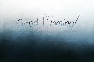 """Buy stock photo Shot of a steamy window with the words """"good morning"""" written on them"""