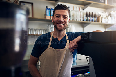 Buy stock photo Portrait of a mature man working in a coffee shop