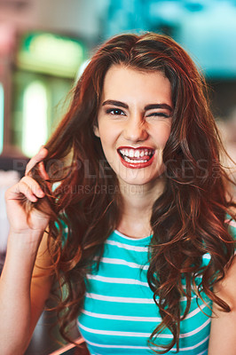 Buy stock photo Shot of a beautiful young woman in a diner