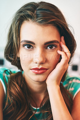 Buy stock photo Portrait of a beautiful young woman in a diner