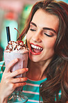 This milkshake is the cherry top to my day