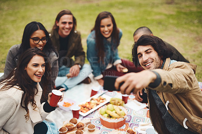 Buy stock photo Shot of a group of young friends taking a self portrait together while having a picnic outside during the day