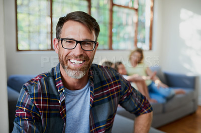 Buy stock photo Portrait of a handsome mature man at home