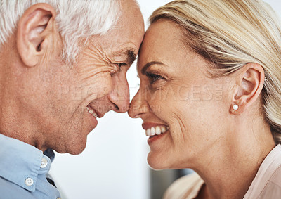 Buy stock photo Cropped shot of an affectionate mature couple standing face to face in their home