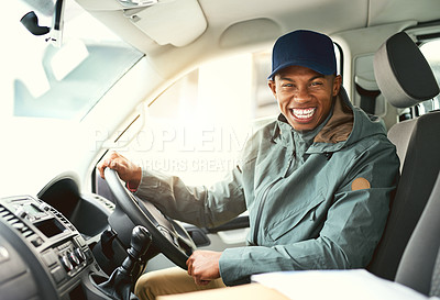 Buy stock photo Portrait of a courier making deliveries in his van