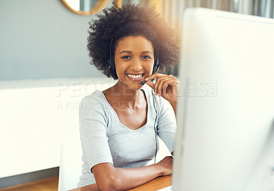 Buy stock photo Cropped portrait of an attractive young businesswoman working in a call center