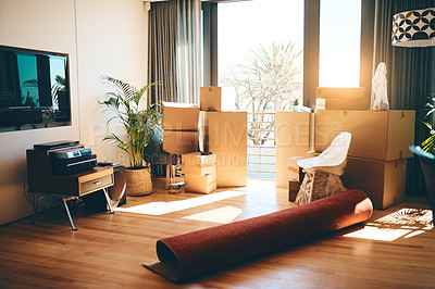 Buy stock photo Shot of an empty room in a house on moving day