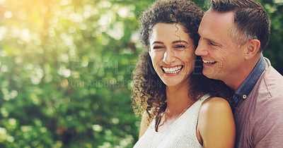 Buy stock photo Portrait of a happy and affectionate mature couple spending quality time together outdoors