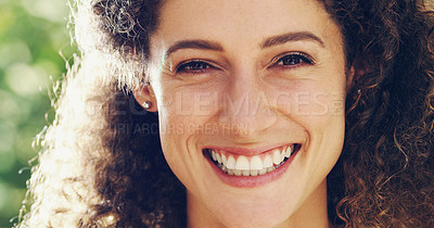 Buy stock photo Portrait of a happy and attractive woman outside