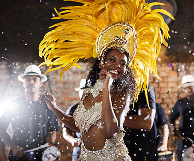 Buy stock photo Shot of samba dancers performing in a carnival