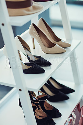 Buy stock photo Shot of high heels on display in a store
