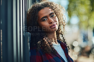 Buy stock photo Portrait of an attractive young woman in the city