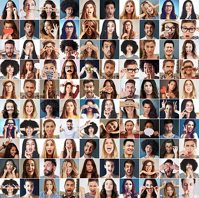 Buy stock photo Composite shot of a diverse group of people making different facial expressions