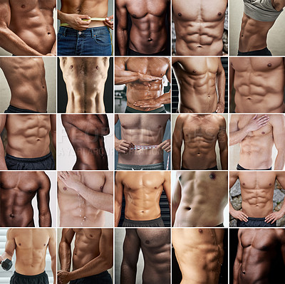 Buy stock photo Composite shot of a diverse group of muscular men