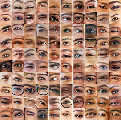 Buy stock photo Composite shot of a diverse group of people's eyes