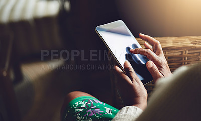 Buy stock photo Closeup shot of an unrecognizable woman using a digital tablet at home