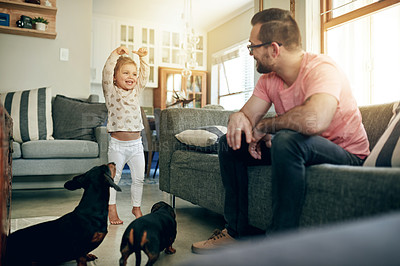 Buy stock photo Shot of a father and his little daughter bonding with their dogs at home