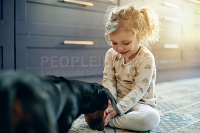 Buy stock photo Shot of an adorable little girl playing with her pet dog at home