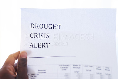 Buy stock photo Closeup of an unrecognizable person holding a paper with a notification on it saying