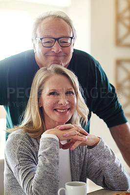 Buy stock photo Portrait of a senior married couple spending time together at home
