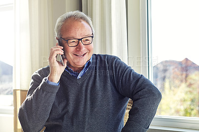 Buy stock photo Cropped shot of a senior man on a call at home