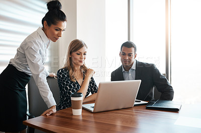 Buy stock photo Shot of businesspeople working in a modern office