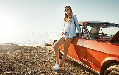 Buy stock photo Portrait of a beautiful young woman going on a road trip to the beach