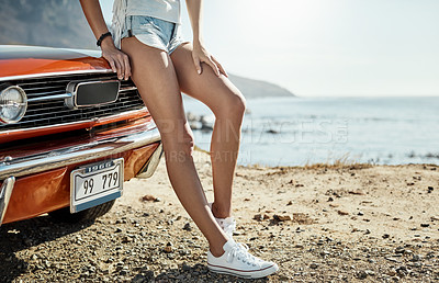 Buy stock photo Cropped shot of an unrecognizable woman on a road trip