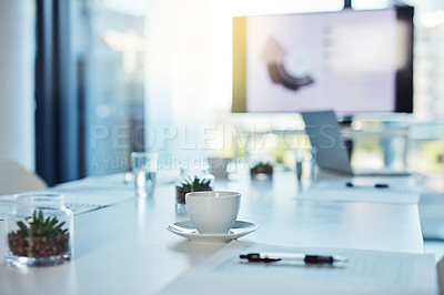 Buy stock photo Shot of an empty boardroom in a modern office