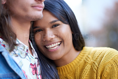 Buy stock photo Cropped shot of a beautiful young couple on campus