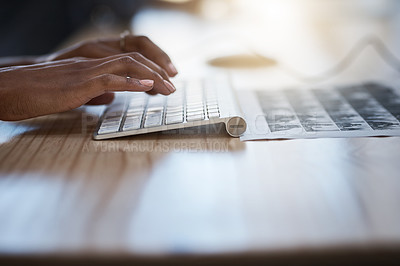 Buy stock photo Closeup shot of an unrecognizable businesswoman typing on a keyboard