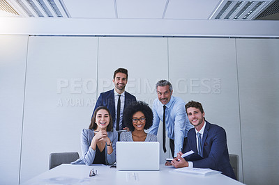 Buy stock photo Portrait of a diverse group of businesspeople working together in an office